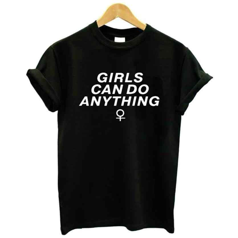 Kısa Kollu Pamuk KıZ YAPABILIRSINIZ ŞEY Mektuplar Baskı T-Shirt Kadınlar Için Üstleri Kadın Artı Boyutu Tshirt Komik Punk Streetwear