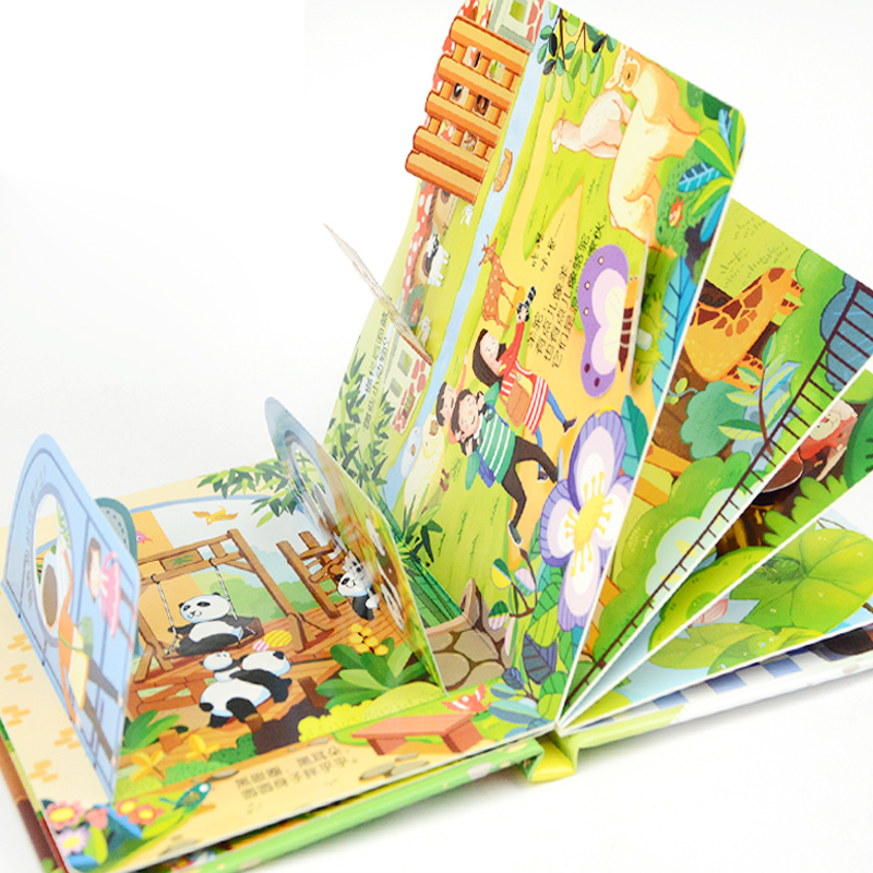 4pcs Children's Story Early Education Enlightenment 3D Stereo Flip Book Zoo/ Kindergarten/amusement Park