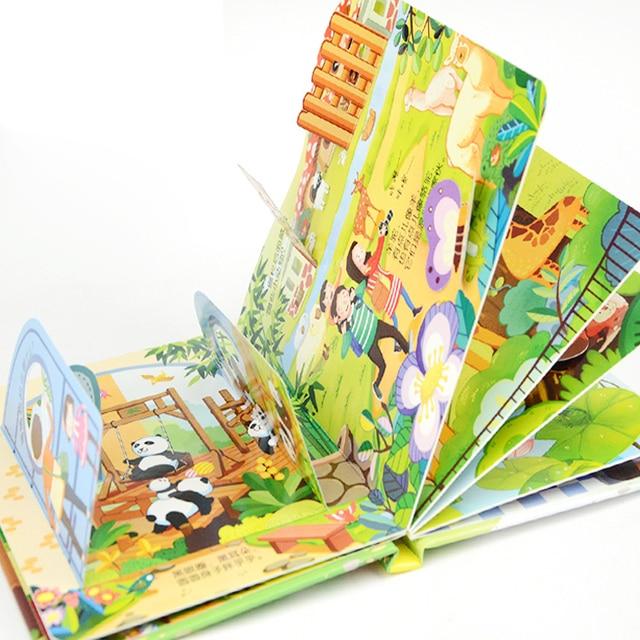 4pcs Childrens story Early education enlightenment 3D stereo flip book Zoo/ kindergarten/amusement park
