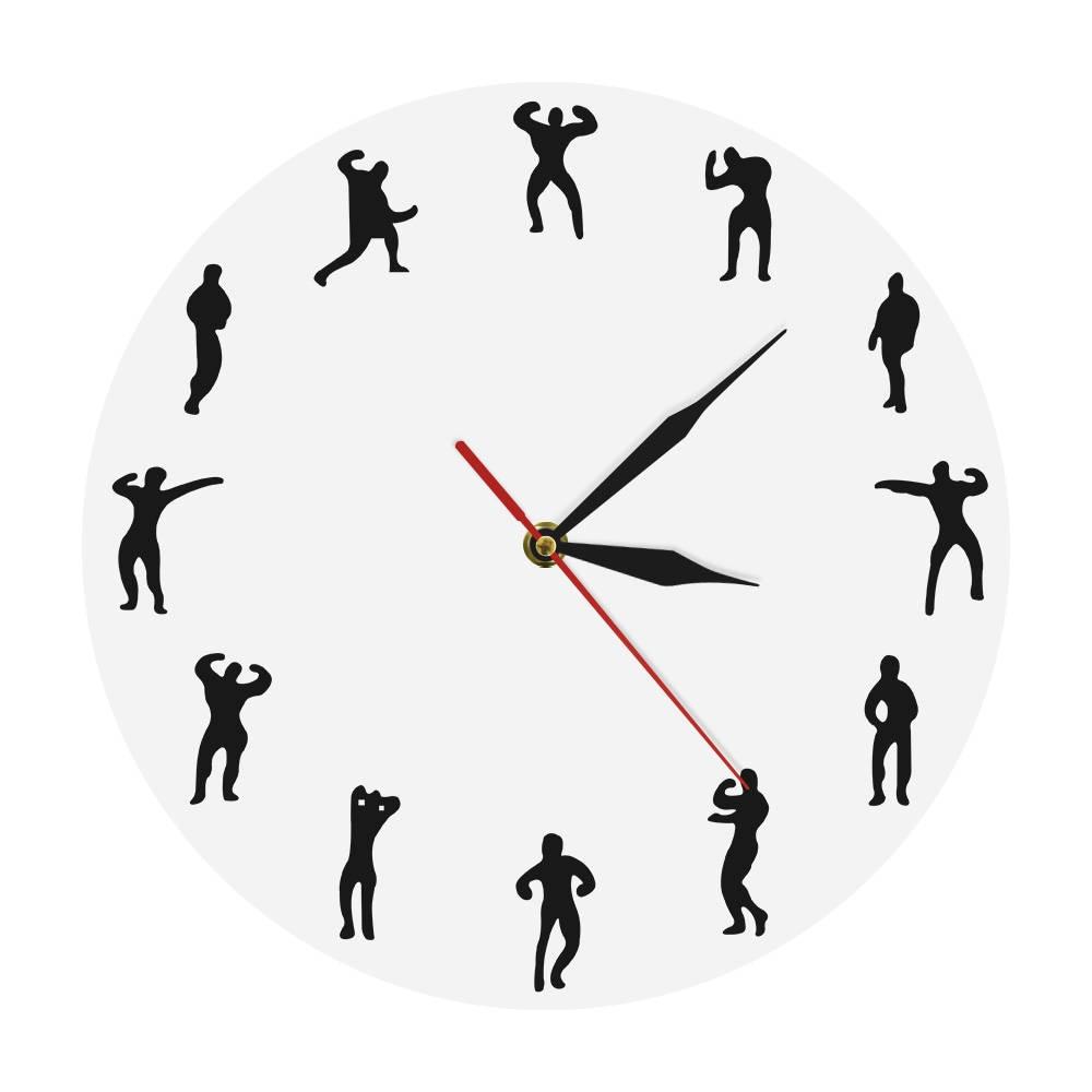 1Piece Gym Man Design Clock Fitness Wall Clock Keeping Fit Modern Wall Clock Decorative Clock Bodybuilding Gymnasium Wall Decor