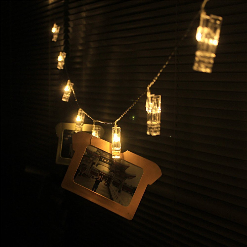 1X 1m/2m/3m/4m Led Photo Clip String Light, Battery-powered LED Card Photo clip string lights 3xAA battery Christmas lights