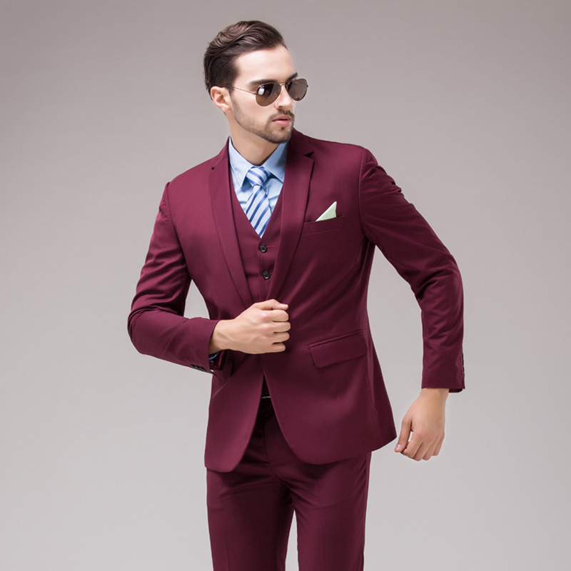 Back Vent Slim Fits Notch Lapel Groom Tuxedos Burgundy Groomsmen ...