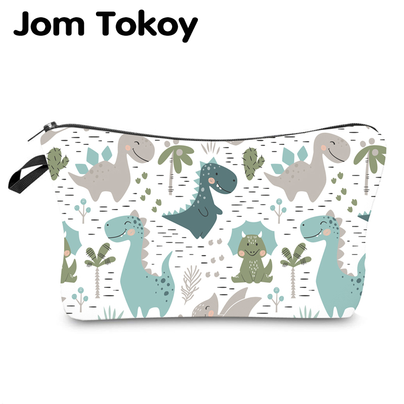 Jom Tokoy Waterproof Cosmetic Organizer Bag Makeup Bag Printing Dinosaur Cosmetic Bag Fashion Women Multifunction Beauty Bag 943