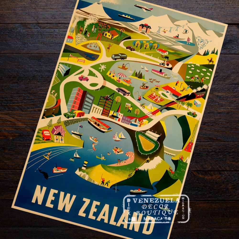Tasman Empire Airways New Zealand NZ Landscape Trip Travel Retro ...
