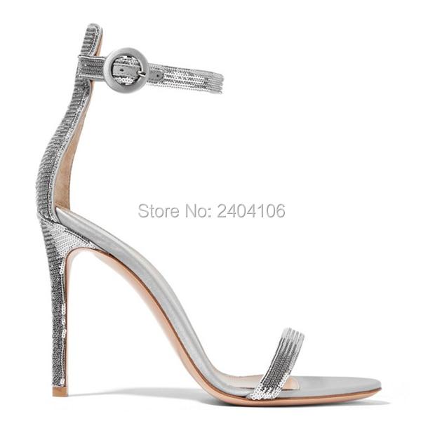 04a8cf169ae Luxury Summer Shoes Sandalia Feminina Sexy Open Toe Buckle Strap Stilettos  Glitter Wedding Pumps Silver High