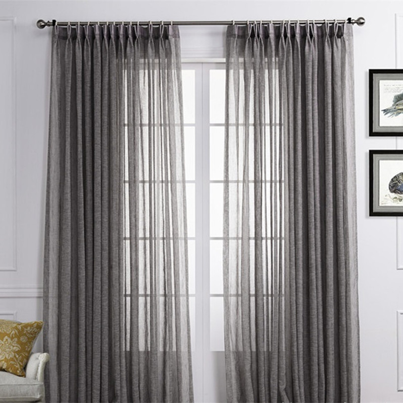 american country style blue coffee colored solid gray linen gauze curtains cloth screens for living