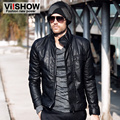 Free Shipping !!! New Viishow  Winter Casual PU Slim Short Stand Collar Cotorcycle Leather Jacket Men's Clothing S,M,L
