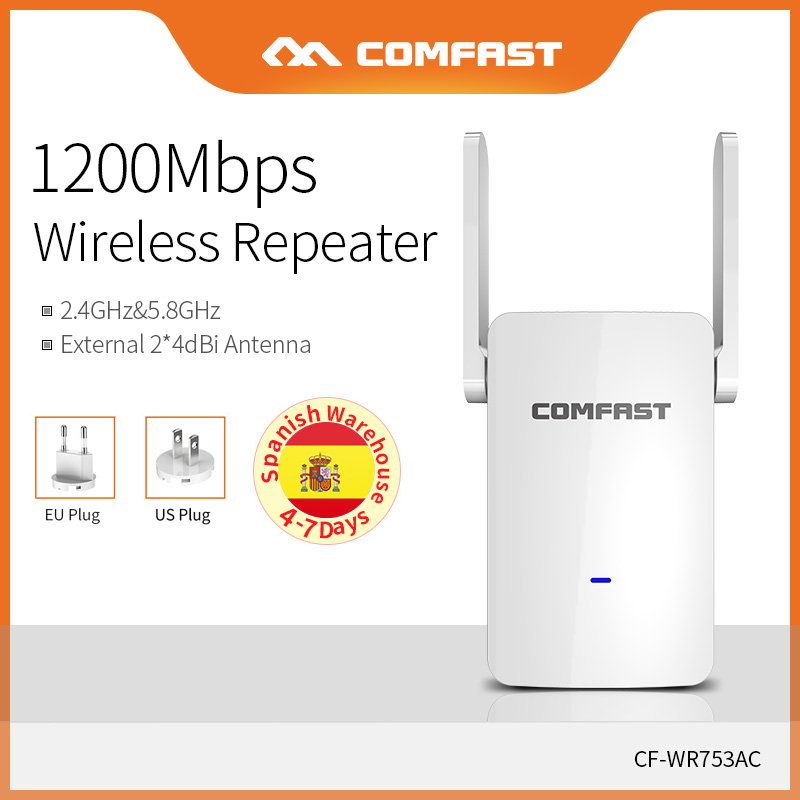 Comfast 1200Mbps High Speed Dual Band Wifi Signal Extender 867Mbps(5.8GHz)  Fast Wireless Transmission Access Point CF-WR753AC
