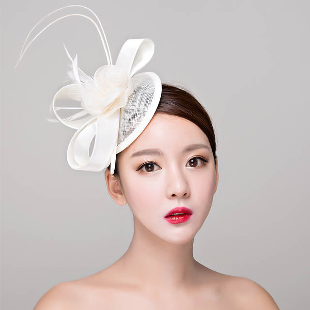 Red white black Sinamay hats royal fascinators wedding races cocktail fascinator  women linen feather f996524c54ce