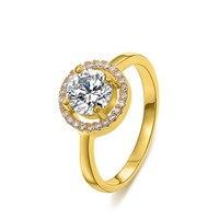 Anéis para As Mulheres Liga de Ouro-Cor AAA Cúbicos Zircão Anéis de Casamento popular adornam artigo Cristais Austríacos Luxo Mulheres Jóias
