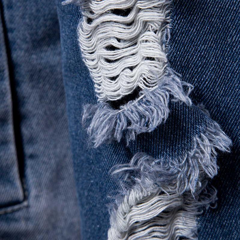 Осень 2018 г. Для Мужчин's повседневные джинсы куртки Отверстия украшения верхняя одежда хлопковая ткань одноцветное цвет мужчин Модная куртк