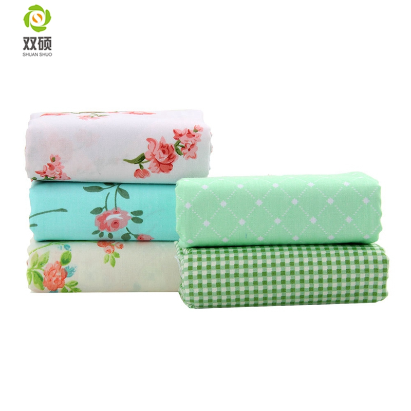 O2-5-34 Cotton Quilting Floral Printed Fabric DIY Sewing Patchwork Fabric Tissus Tilda Doll Dress Handicraft 40X50CM 5PCS/lot
