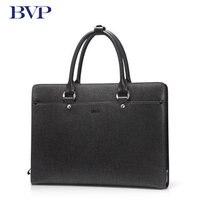 BVP Famous Brand High Quality Men Portable Briefcase Genuine Leather Laptop Bag Business Black Real Leather Male Zipper Bag J40