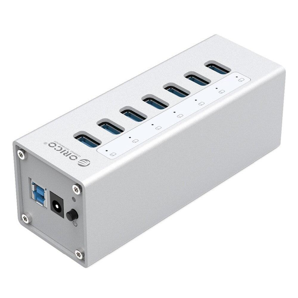 ORICO A3H7 aluminum high-speed USB3.0 splitter 7-port USB3.0HUB computer hub with power port