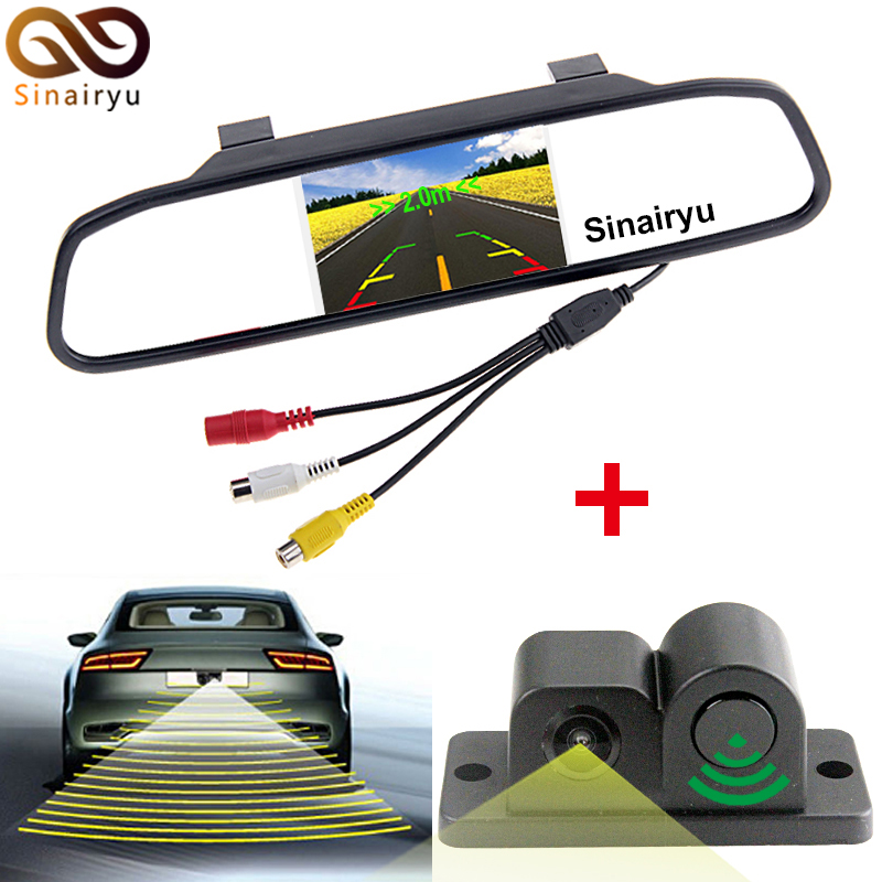 Sinairyu 3in1 4 3 Car Rearview Mirror Monitor Rear View Camera with Radar font b Sensor