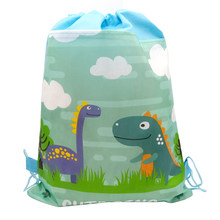 Birthday Party Mochila Boys Favors Cartoon Cute Dinosaur Theme Decorate Non-woven Fabric Baby Shower Drawstring Gifts Bags 1PCS(China)