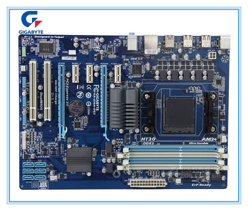 Gigabyte Original Motherboard  GA-970A-DS3 DDR3 Socket AM3+ 970A-DS3 32GB  USB3.0 970 Desktop Motherborad