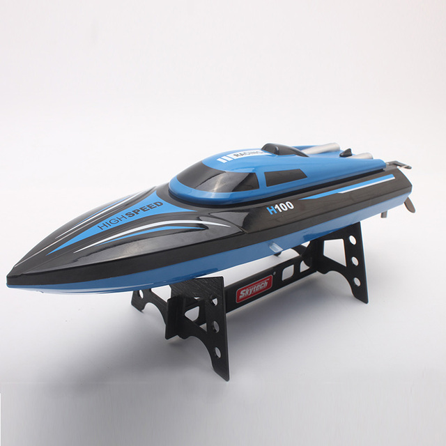 30KM/H RC Boat SKytech H100 4CH High Speed Racing Boat Remote Control Electric Mini Airship 2.4GHz Boats with LCD Kids Toy ^
