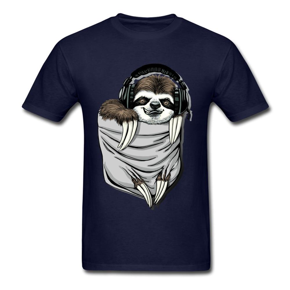 Прочный Шарм DJ Музыкальная гарнитура Ленивец Спортивная футболка мужская Спортивная Футболка серая футболка Kawaii дизайн карманный монстр одежда - Цвет: Navy Blue