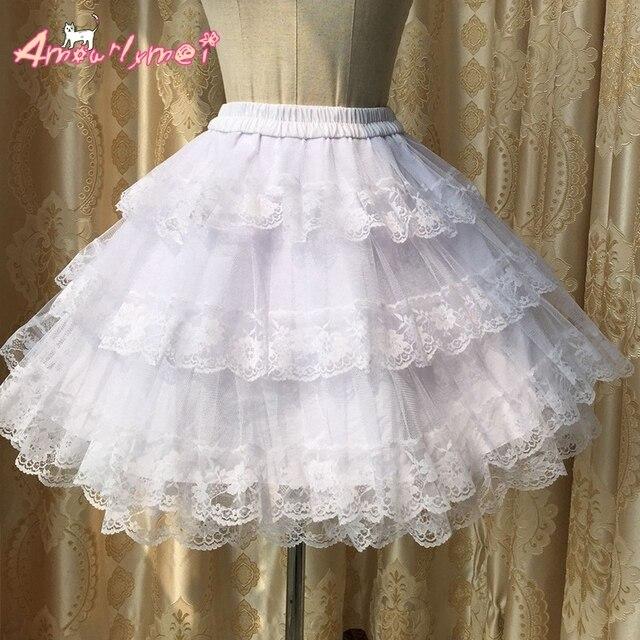 e793d0f5db96f8 € 18.0 15% de réduction|Jupe princesse Palace Vintage jupon jupe Lolita  douce Kawaii jupon dentelle robe de bal doublée jupe fond noir blanc dans  ...