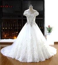 Custom Made vestido de Baile V-neck Cristal Beading Laço de Diamantes de Luxo Elegantes Vestidos De Noiva Fotos Reais Vestidos De Noiva EW21