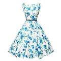 Vestidos vestidos de verano sin mangas floral azul de la vendimia de audrey hepburn dress xxl o cuello 50 s retro elegante midi dress con fajas