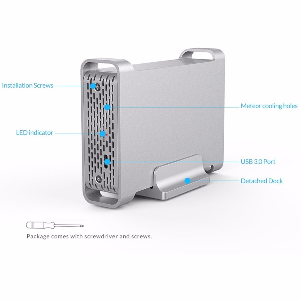 Silver Yottamaster Aluminum USB3.1 Type-C Hard Drive Enclosure 5Gbps for 3.5 SATA HDD Support UASP /& 10TB