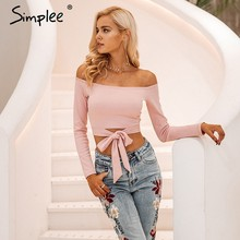 Simplee Sexy off shoulder tie up white crop tops female solid shirt cropped women Casual bow autumn streetwear shirt ladies tops(China)