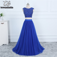 High Neck Royal Blue Crystals Two Pieces Prom Dress A line Sexy Tulle Evening Dress with V back vestidos de formatura