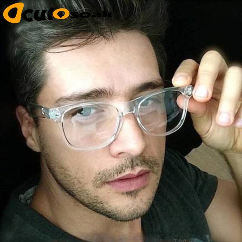 2019 Retro men's Transparent glasses clear lenses PC Comotuer Square eyeglasses frames for women reading eyewear male Spectacle