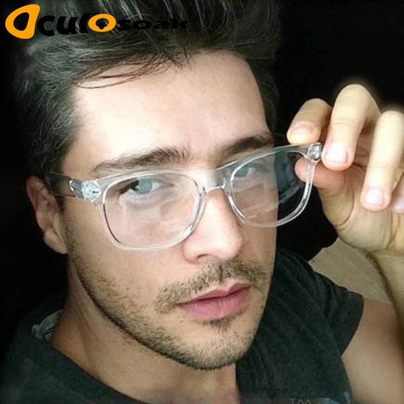 2019 Retro Men's Transparent Glasses Clear Lenses PC Comotuer Square Eyeglasses Frames For Women Reading Eyewear Male Spectacle