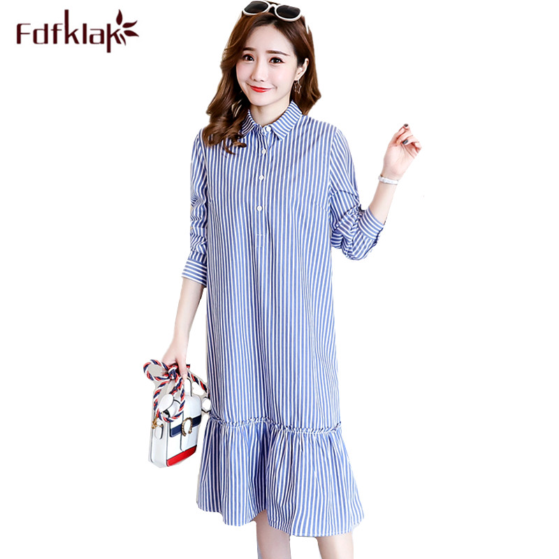 Fdfklak Maternity Clothes Long-sleeved Cotton Pregnancy Dress Striped Casual Pregnant Dress Women Spring Autumn Dresses M-2XL