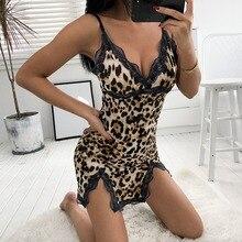Женское сексуальное ночное белье с v-образным вырезом леопардовое Ночное платье для ночного клуба стиль кружева слинг сексуальные ночные рубашки женское белье pijama mujer