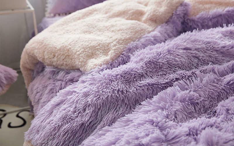 Nerz Samt Lila Blau Rosa Grau Weiß Mädchen Bettwäsche Set Weiche Berber Fleece Duvet Abdeckung Dicken Bettlaken Bett Rock kissenbezüge