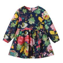 Spring Clothing Girls Dress Long Sleeve Cotton A Line Bohemian Print Dress Children Clothes Girl kids dresses for girls 20 Color miss haiwo fall kids dresses for girls pure cotton baby girl clothes stripes rainbow color girls long dress children s clothing