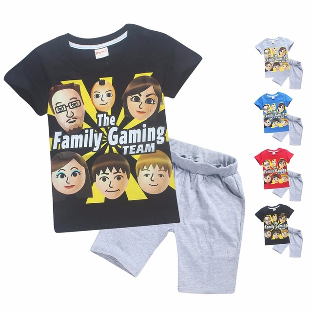 941af509ea82 4-12y 2018 Summer ROBLOX Cotton Children Clothing Sets FGTeeV Faces Baby  Girls Kids Boys Funny T Shirts + Shorts Fgtv Sport Suit