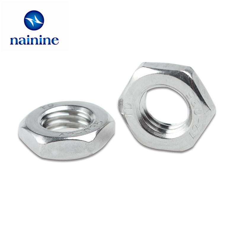 50Pcs DIN439 GB6172 M3 M4 M5 M6 M8 304 Stainless Steel Hexagonal Nut Thin Hex Nuts HW134 thai silver earrings s925 zircon silver inlaid white female antique style earrings atmospheric water