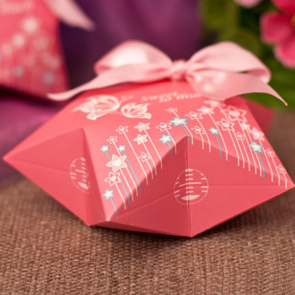 Dia 12.5cm European Butterfly Painting Pink Paper Gift Box DIY ...