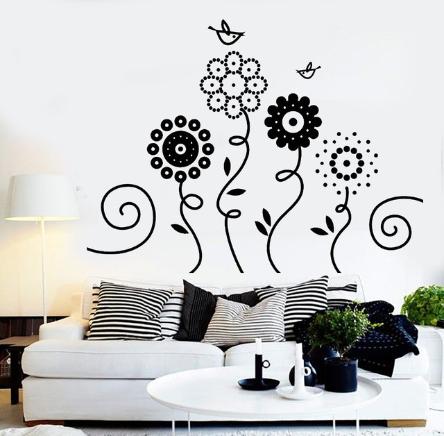 Vinyl Wall Decal Sofa Background Decoration Flowers Garden Birds Nature Art Nursery Decor Stickers Waterproof Sticker Zb335