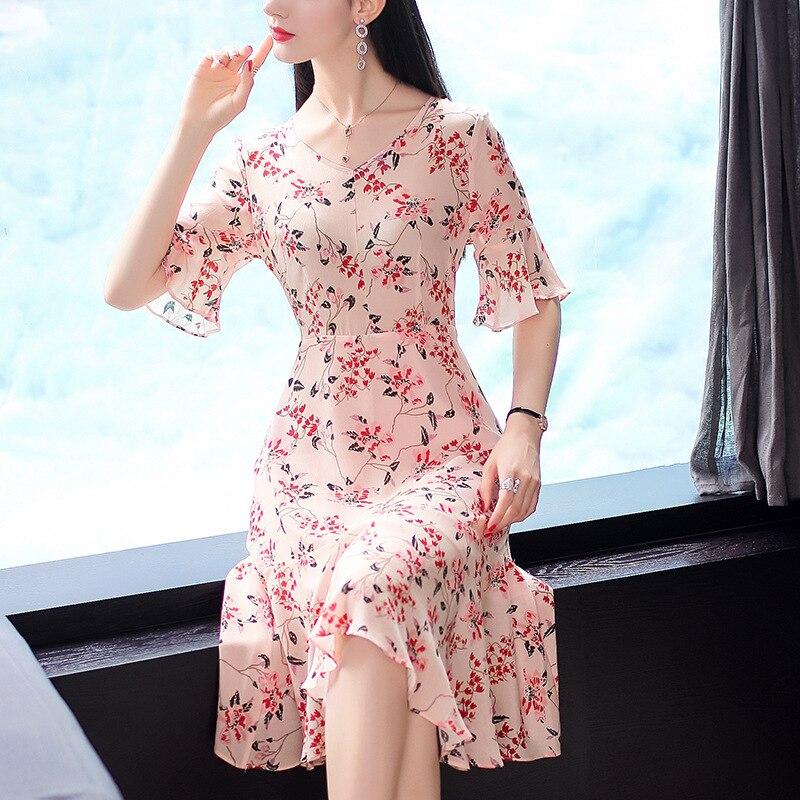 1f2358304cf873b Цветочное шелковое платье 2019 весна лето женское длинное повседневное  сексуальное шифоновое богемное пляжное платье плюс большой