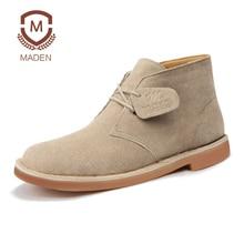 Marca de Moda de invierno Zapatos de Gamuza Martin Botas de Desierto de Los Hombres de Alta Calidad manual del Tobillo del Estilo Británico hombres Zapatos de Trabajo Ocasionales