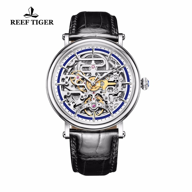 Reef Tiger/RT Watches Business Vintage Watches Skeleton Dial Leather Strap Waterproof Watch Mens Automatic Watches RGA1917