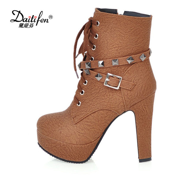 Daidifen 2017 New fashion lace-up women ankle boots high heels black brown  autumn winter