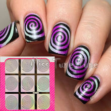 1 Sheet Laser Silver Nail Vinyls Nail Art Stencils Stickers Tip Decals Circle Swirl Hollow Round Whirl