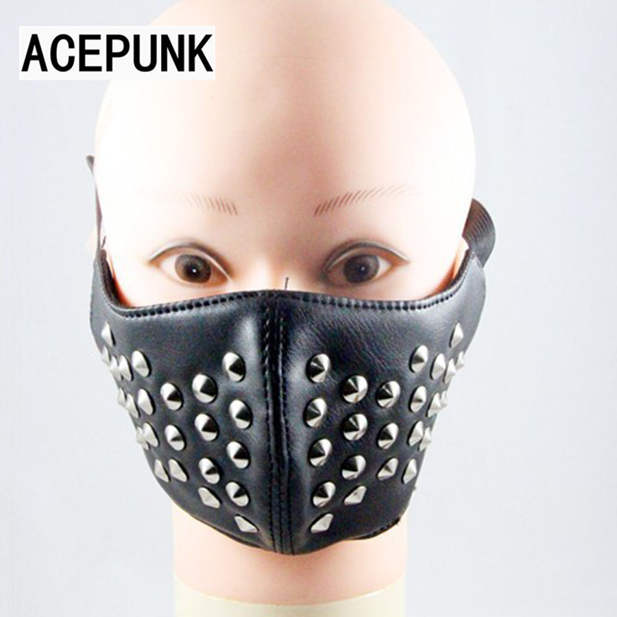 New Arrive Fashion Cool Man Party Punk Mask Rivet Black PU Leather Mask Men Women Hip Hop Masks Bar Stage Performance Masks