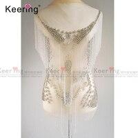 Waterfall dangling bodice applique jewelry Dress Patch For Wedding Dress WDP 055