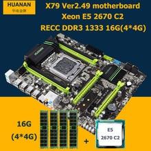 HUANAN motherboard CPU RAM set X79 V2.49 LGA2011 NVME SSD M.2 port Xeon E5 2670 C2 (4*4G)16G DDR3 RECC MAX support 4*16G memory