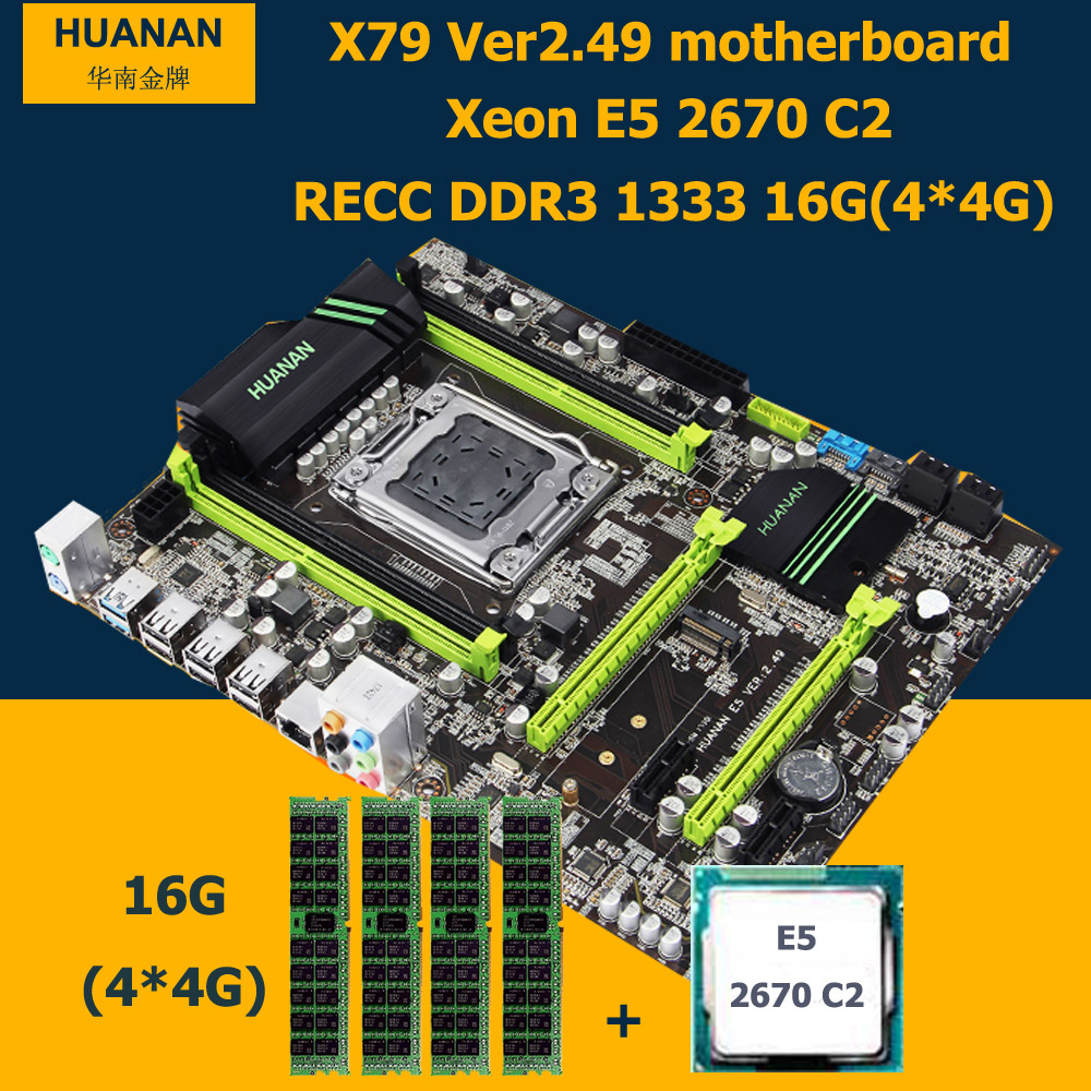 HUANAN motherboard CPU RAM set X79 V2.49 LGA2011 NVME SSD M.2 port Xeon E5 2670 C2 (4*4G)16G DDR3 RECC MAX support 4*16G memory recommend huanan deluxe x79 motherboard lga2011 intel xeon e5 2650 c2 ram 16g 4 4g ddr3 1333 recc support 64g 4 16g memory