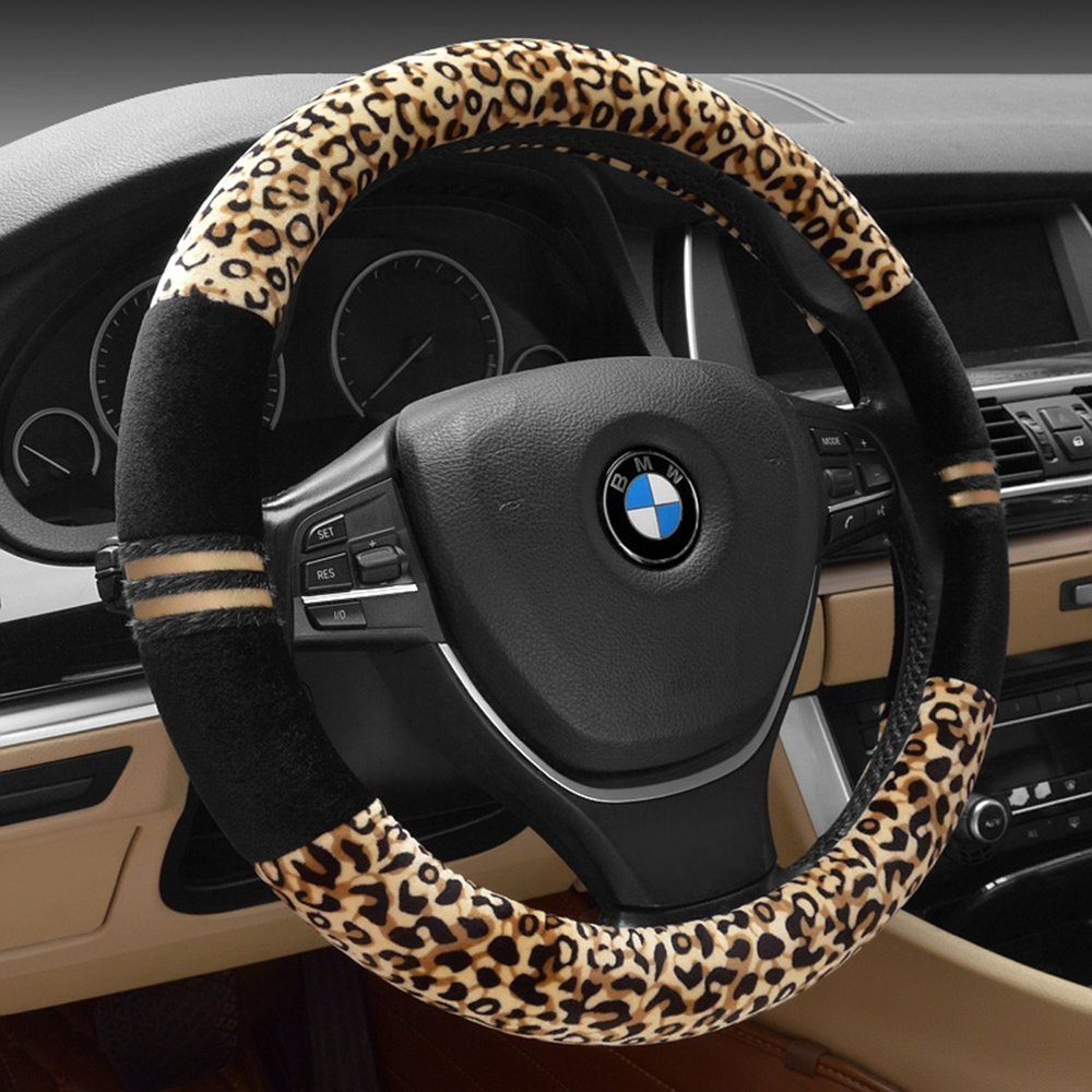 Hot Sell Soft Leopard Steering Cover Pad Wrap Protector Universal for 38cm 15inch Car Steering Wheel Decoration Accessories