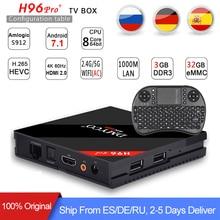 [Genuine] h96 pro plus 3g 32g Smart TV Box Android 7.1 Amlogic S912 OCTA Core Wifi 4K H.265 h96 media player h96pro set top box